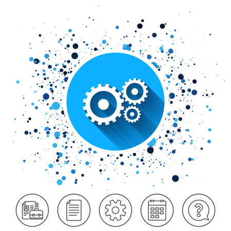Button on circles background. Cog settings sign icon. Cogwheel gear mechanism symbol. Calendar line icon. And more line signs. Random circles. Editable stroke.