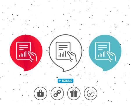연설 거품 기호입니다. 보류 리포트 문서 아이콘. 분석 차트 또는 판매 성장 기호입니다. 통계 데이터 기호입니다. 다른 고전적인 표시가있는 보너스.