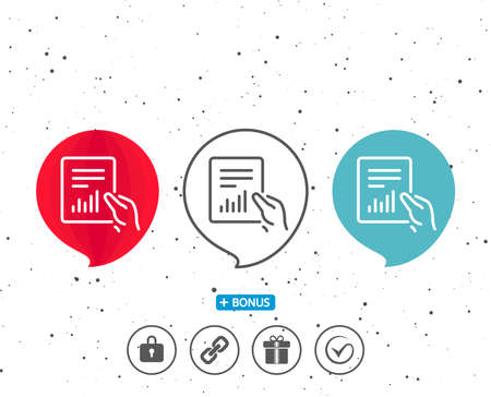 Speech bubbles with symbol. Hold Report document line icon. Analysis Chart or Sales growth sign. Statistics data symbol. Bonus with different classic signs. Random circles background.