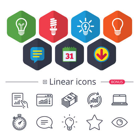 Calendar, Speech bubble and Download signs. Light lamp icons. Fluorescent lamp bulb symbols. Energy saving. Idea and success sign. Chat, Report graph line icons. More linear signs. Editable stroke Illustration