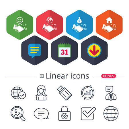 Calendar, Speech bubble and Download signs. Handshake icons. World, Smile happy face and house building symbol. Dollar cash money bag. Amicable agreement. Chat, Report graph line icons.