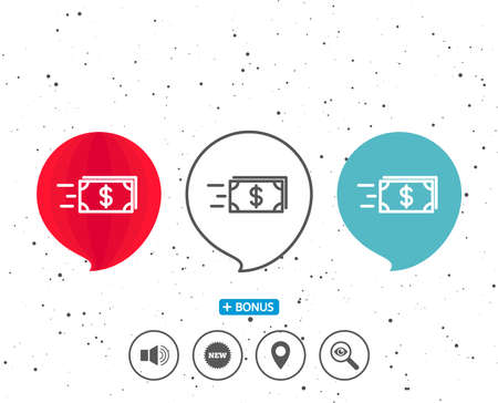 Speech bubbles with symbol. Transfer Cash money line icon. Banking currency sign. Dollar or USD symbol. Bonus with different classic signs. Random circles background. Vector