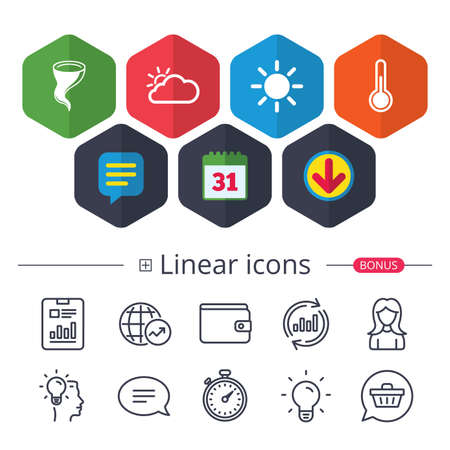 Calendar, Speech bubble and Download signs. Weather icons. Cloud and sun signs. Storm symbol. Thermometer temperature sign. Chat, Report graph line icons. More linear signs. Editable stroke. Vector