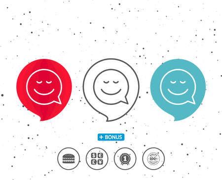 Speech bubbles with symbol. Comic speech bubble with Smile line icon. Chat emotion sign. Bonus with different classic signs. Random circles background. Ilustração