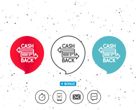 Speech bubbles with symbol. Credit card line icon. Banking Payment card sign. Cashback service symbol. Bonus with different classic signs. Random circles background. Reklamní fotografie - 87839352