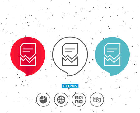 Speech bubbles with symbol. Corrupted Document line icon. Bad File sign. Paper page concept symbol. Bonus with different classic signs. Random circles background. Reklamní fotografie - 87839343