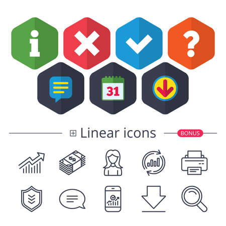 Calendar, Speech bubble and Download signs. Information icons. Delete and question FAQ mark signs. Approved check mark symbol. Chat, Report graph line icons. More linear signs. Editable stroke.