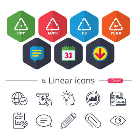 Calendar, Speech bubble and Download signs. PET, Ld-pe and Hd-pe icons. High-density Polyethylene terephthalate sign. Recycling symbol. Chat, Report graph line icons. More linear signs. Stok Fotoğraf - 87839345