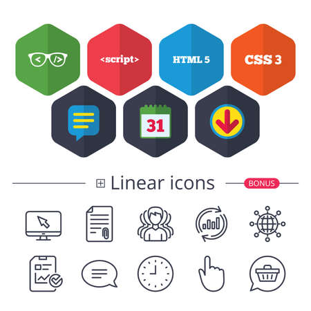 Calendar, Speech bubble and Download signs. Programmer coder glasses icon. HTML5 markup language and CSS3 cascading style sheets sign symbols. Chat, Report graph line icons. More linear signs.