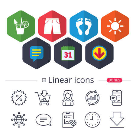 Calendar, Speech bubble and Download signs. Beach holidays icons. Cocktail, human footprints and swimming trunks signs. Summer sun symbol. Chat, Report graph line icons. More linear signs.