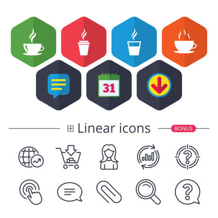 Calendar, Speech bubble and Download signs. Coffee cup icon. Hot drinks glasses symbols. Take away or take-out tea beverage signs. Chat, Report graph line icons. More linear signs. Editable stroke 向量圖像