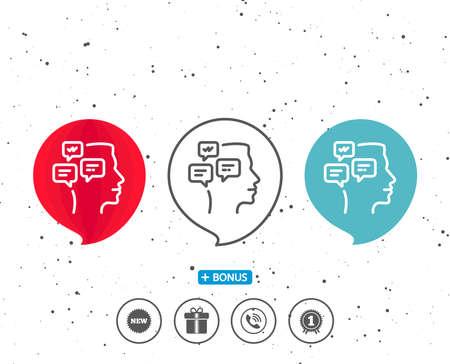 Speech bubbles with symbol. Chat Messages line icon. Conversation sign. Communication speech bubbles symbol. Bonus with different classic signs. Random circles background. Ilustrace