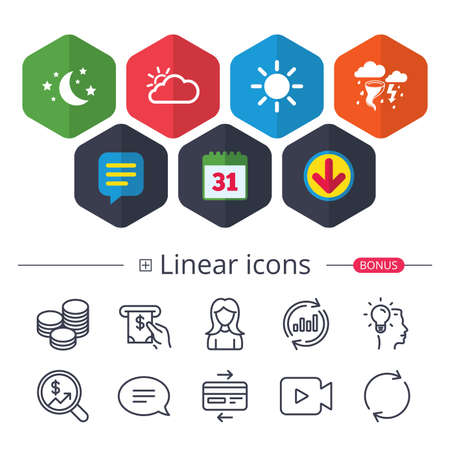 Calendar, Speech bubble and Download signs. Weather icons. Moon and stars night. Cloud and sun signs. Storm or thunderstorm with lightning symbol. Chat, Report graph line icons. More linear signs