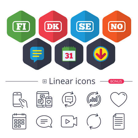 Calendar, Speech bubble and Download signs. Language icons. FI, DK, SE and NO translation symbols. Finland, Denmark, Sweden and Norwegian languages. Chat, Report graph line icons. More linear signs