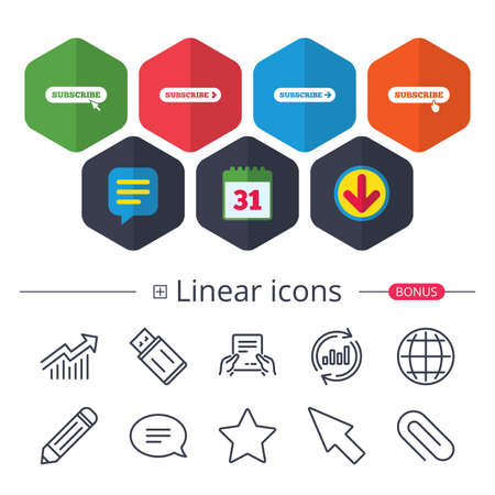 Calendar, Speech bubble and Download signs. Subscribe icons. Membership signs with arrow or hand pointer symbols. Website navigation. Chat, Report graph line icons. More linear signs. Editable stroke