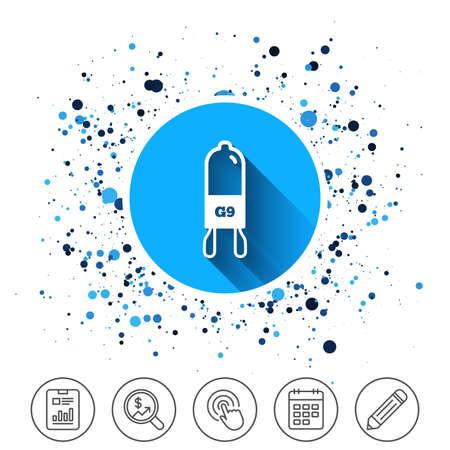 円の背景にボタン。電球アイコン。ランプ G9 ソケットシンボル。Led またはハロゲンライトサイン。カレンダーの行のアイコン。そして、より多くの
