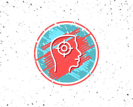 Grunge button with symbol. Head hunting line icon. Business target or Employment sign. Random background. Illustration