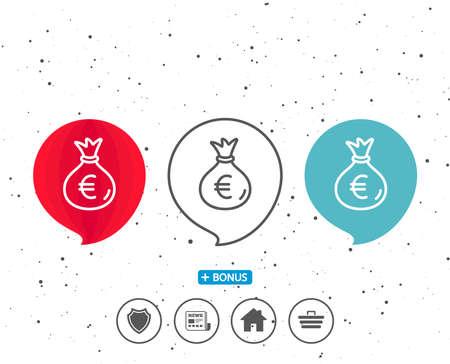 연설 거품 기호입니다. 돈 가방 라인 아이콘입니다. 현금 뱅킹 통화 기호입니다. 유로 또는 EUR 기호. 다른 고전적인 표시가있는 보너스. 무작위 서클 배