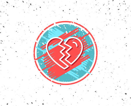 Grunge button with symbol. Break up Love line icon on white background.