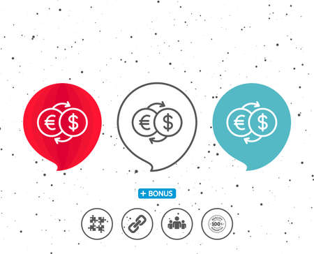 Speech bubbles with symbol. Money exchange line icon on white background. Illustration