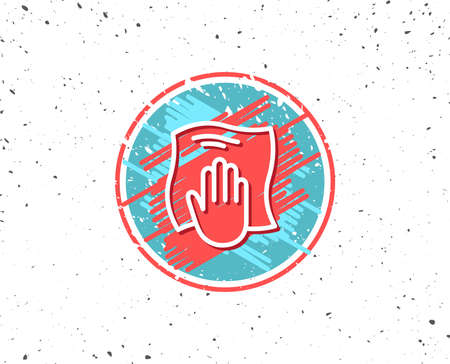 Grunge button with symbol. Cleaning cloth line icon. Wipe with a rag symbol. Housekeeping equipment sign. Random background.