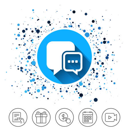 Button on circles background. Chat sign icon. Speech bubble with three dots symbol. Communication chat bubble. Calendar line icon. And more line signs. Random circles. Editable stroke.