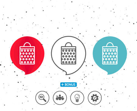 Speech bubbles with symbol. Shopping bag with circles line icon. Present or Sale sign. Birthday Shopping symbol. Package in Gift Wrap. Bonus with different classic signs. Random circles background