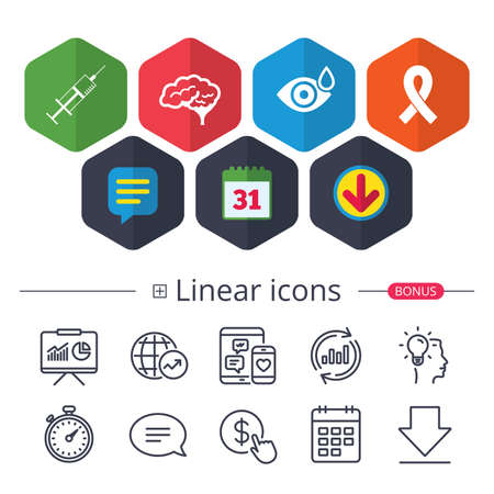 Calendar, Speech bubble and Download signs. Medicine icons. Syringe, eye with drop, brain and ribbon signs. Breast cancer awareness symbol. Human smart mind. Chat, Report graph line icons. Vector