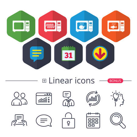 Calendar, Speech bubble and Download signs. Microwave oven icons. Cook in electric stove symbols. Grill chicken and fish signs. Chat, Report graph line icons. More linear signs. Editable stroke