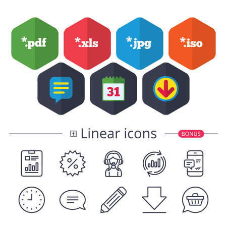 Calendar, Speech bubble and Download signs. Document icons. File extensions symbols. PDF, XLS, JPG and ISO virtual drive signs. Chat, Report graph line icons. More linear signs. Editable stroke