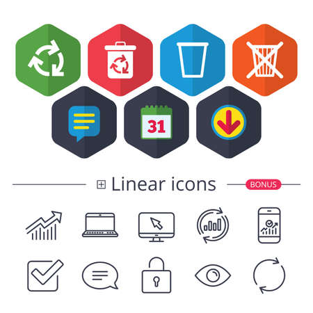 Calendar, Speech bubble and Download signs. Recycle bin icons. Reuse or reduce symbols. Trash can and recycling signs. Chat, Report graph line icons. More linear signs. Editable stroke. Vector