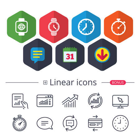Calendar, Speech bubble and Download signs. Smart watch with internet icons. Mechanical clock time, Stopwatch timer symbols. Wrist digital watch sign. Chat, Report graph line icons. More linear signs