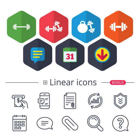 Calendar, Speech bubble and Download signs. Dumbbells sign icons. Fitness sport symbols. Gym workout equipment. Chat, Report graph line icons. More linear signs. Editable stroke. Vector