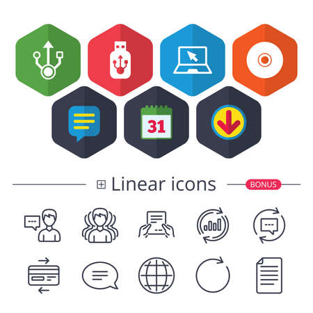 Calendar, Speech bubble and Download signs. Usb flash drive icons. Notebook or Laptop pc symbols. CD or DVD sign. Compact disc. Chat, Report graph line icons. More linear signs. Editable stroke Illustration