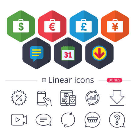 Calendar, Speech bubble and Download signs. Businessman case icons. Cash money diplomat signs. Dollar, euro and pound symbols. Chat, Report graph line icons. More linear signs. Editable stroke. Vector