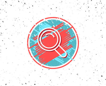 Grunge button with symbol. Search line icon. Magnifying glass sign. Enlarge tool symbol. Random background.