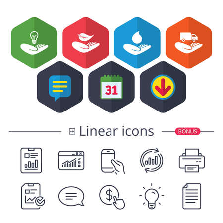 Calendar, Speech bubble and Download signs. Helping hands icons. Intellectual property insurance symbol. Delivery truck sign. Save nature leaf and water drop. Chat, Report graph line icons.