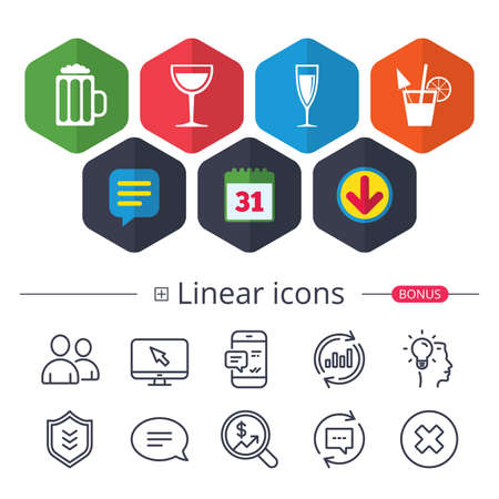 Calendar, Speech bubble and Download signs. Alcoholic drinks icons. Champagne sparkling wine and beer symbols. Wine glass and cocktail signs. Chat, Report graph line icons. More linear signs.