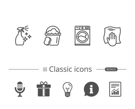 Washing machine and Housekeeping service line icons. Çizim