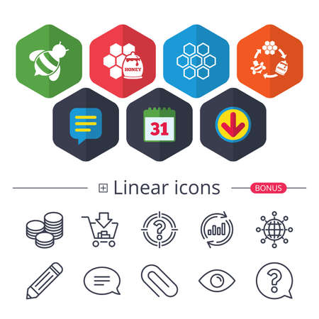 Calendar, Speech bubble and Download signs, Honey icon, Honeycomb cells with bees symbol, Sweet natural food signs, Chat, Report graph line icons and more linear signs in editable stroke. Ilustração