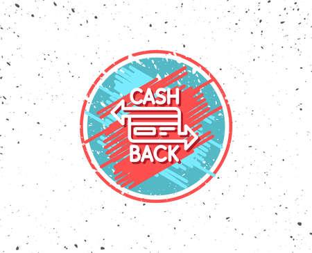 Grunge circulaire gevormd met symbool van creditcard lijn pictogram; Bankieren Betaalkaartteken; Cashbacksymbool op willekeurige achtergrond. Stock Illustratie
