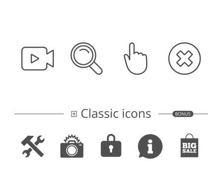 Video camera, Search or Magnifying glass sign and Hand cursor line icons and Delete icon with other classic icons such as Information speech bubble sign and more signs in black and white, Editable stroke. Иллюстрация
