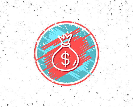 グランジは円形お金袋線アイコン、銀行の現金通貨記号、ランダムなバック グラウンドでドルまたはドル記号のシンボルを持つ形します。 写真素材 - 88183521