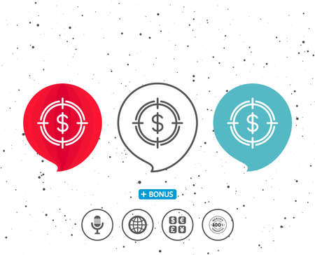 Speech bubbles with symbol of Target with Dollar line icon; Aim symbol with Cash or Money sign, with Bonus of different classic signs in Random circles background.
