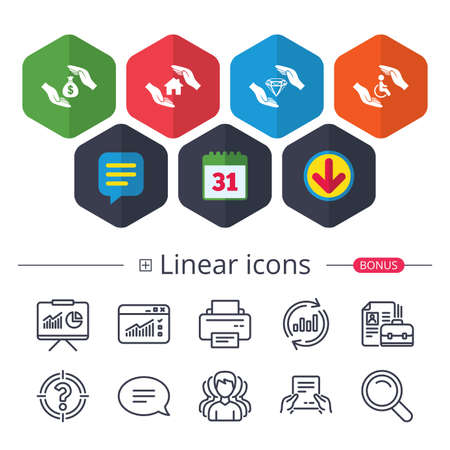 Colored Calendar, Speech bubble and Download signs, Hands protection icons, Money bag savings symbols, Disabled human help symbol, House property protection sign, Chat, with other classic linear icons in random circles and editable stroke. Illustration