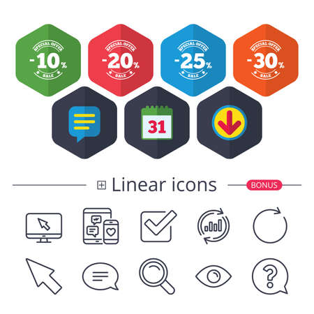 Sale discount icons. Ilustrace