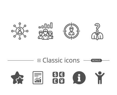 Business Networking and Teamwork line icons. Illustration