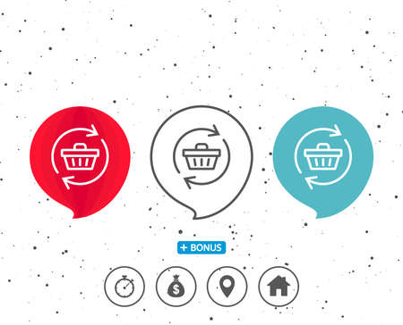 Set of colorful speech bubbles with symbol, Update Shopping cart line icon, Online buying concept, Supermarket basket symbol with bonus of different classic signs in black and white illustration. Ilustrace