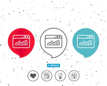 Set of speech bubbles with symbol, Website Traffic line icon, Report chart or Sales growth sign, Analysis and Statistics data symbol,  with bonus of different classic signs in black and white illustration.
