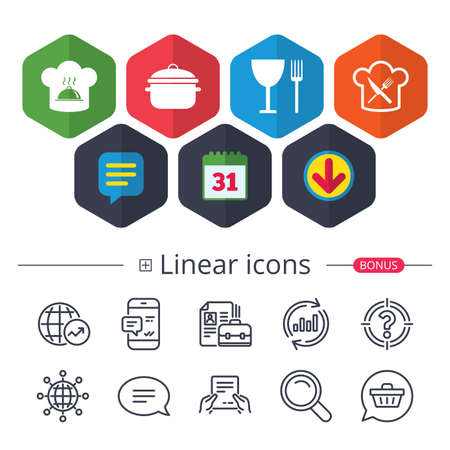 Colored Calendar, Speech bubble and Download signs, Chief hat and cooking pan icons, Crosswise fork and knife signs, Boil or stew food symbols, with bonus of different classic signs in black and white illustration. Illustration